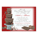 Chocolate Fountain Bridal Shower Red 5x7 Paper Invitation Card
