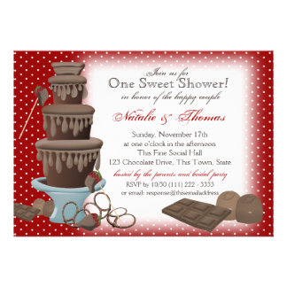 Chocolate Fountain Bridal Shower Red Custom Invitations