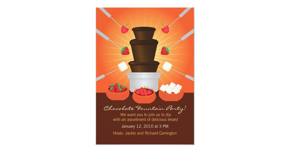 chocolate fountain fondue party invitation zazzle. Black Bedroom Furniture Sets. Home Design Ideas