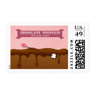 Chocolate fountain girls birthday party stamps