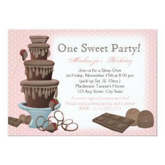 Chocolate Fountain Movie Sleepover 5x7 Paper Invitation Card