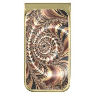 Chocolate Fractal Swirl Gold Finish Money Clip