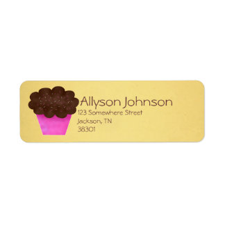 Chocolate Frosted Cupcake Design Address Labels