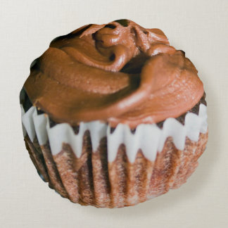 Chocolate Frosted Cupcake Photo Round Pillow