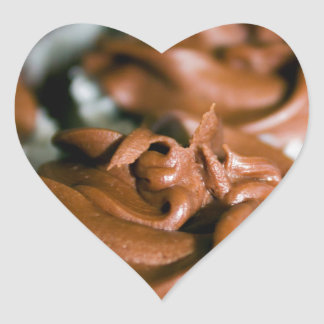 Chocolate Frosted Cupcakes on a Plate Photo Heart Sticker
