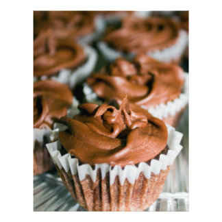 Chocolate Frosted Cupcakes on a Plate Photo Letterhead