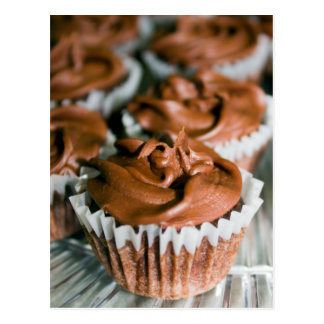 Chocolate Frosted Cupcakes on a Plate Photo Postcard