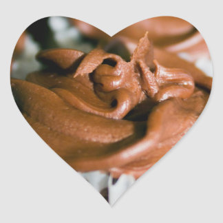 Chocolate Frosted Cupcakes Photo on Heart Sticker