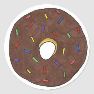 Chocolate Frosted Donut with Sprinkles Classic Round Sticker