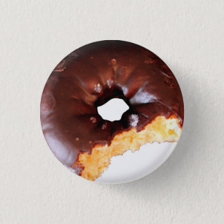 Chocolate Frosted Yellow Cake Donut with Bite Out Button