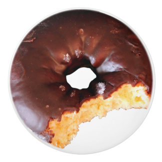 Chocolate Frosted Yellow Cake Donut with Bite Out Ceramic Knob