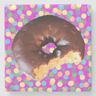 Chocolate Frosted Yellow Cake Donut with Bite Out Stone Beverage Coaster