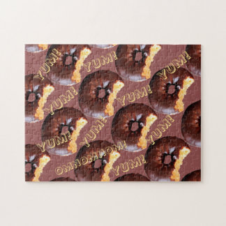 Chocolate Frosted Yellow Cake Donut with Bite Out Jigsaw Puzzle