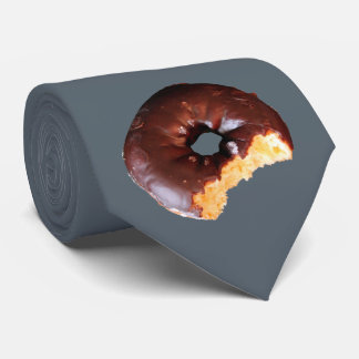 Chocolate Frosted Yellow Cake Donut with Bite Out Neck Tie