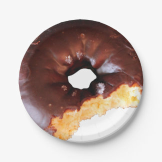 Chocolate Frosted Yellow Cake Donut with Bite Out Paper Plate
