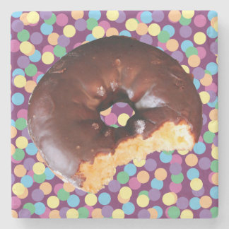 Chocolate Frosted Yellow Cake Donut with Bite Out Stone Coaster