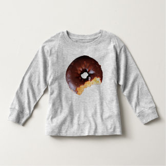 Chocolate Frosted Yellow Cake Donut with Bite Out Toddler T-shirt