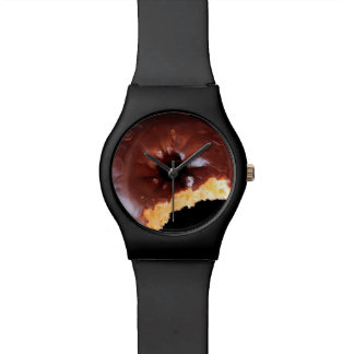 Chocolate Frosted Yellow Cake Donut with Bite Out Wristwatch