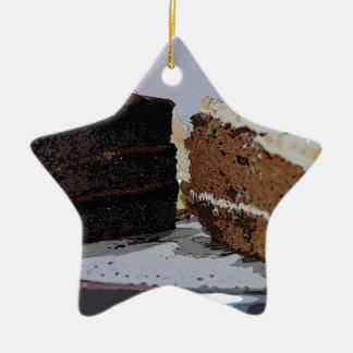 Chocolate Fudge and Carrot Cake - illustrated Ceramic Ornament