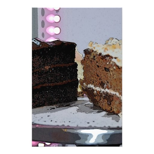 Chocolate Fudge and Carrot Cake - illustrated Customized Stationery