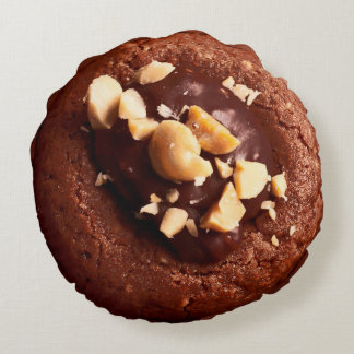 Chocolate Fudge Cookie, Chocolate Brown Round Pillow