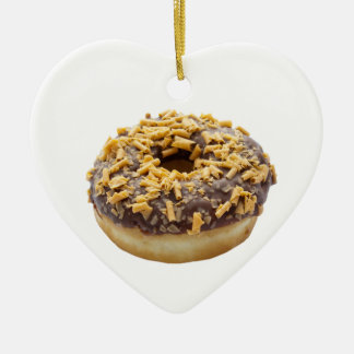 Chocolate Fudge Ring Donut Double-Sided Heart Ceramic Christmas Ornament