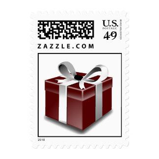 Chocolate Gift Box Bow Christmas Postage Stamps