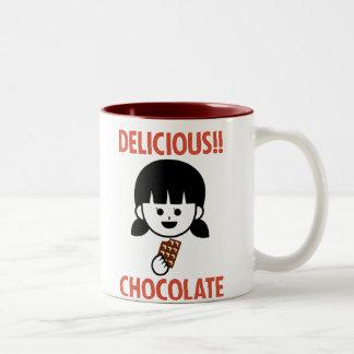 Chocolate girl Two-Tone coffee mug