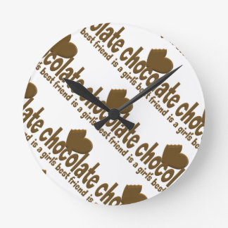 Chocolate Girl's Best Friend Round Clock