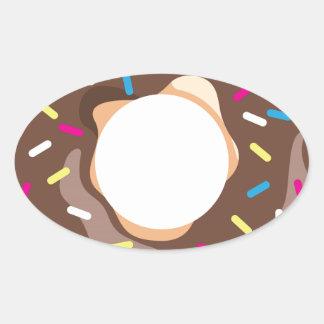 Chocolate Glazed Donut Oval Sticker