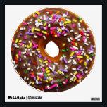 """Chocolate glazed donut with sprinkles wall sticker<br><div class=""""desc"""">Yummy chocolate glazed donut with rainbow sprinkles round wall decals.</div>"""