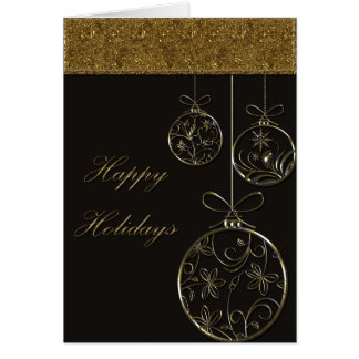 Chocolate & Gold Christmas Ornaments Greeting Cards
