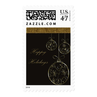 Chocolate & Gold Christmas Ornaments Stamp