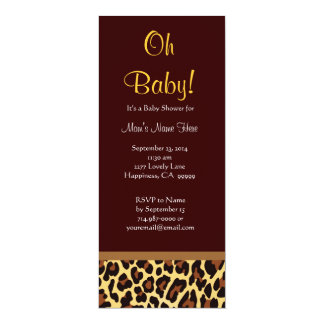 Chocolate Gold Leopard Print Neutral Baby Shower Custom Invites