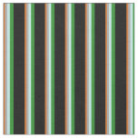 [ Thumbnail: Chocolate, Gray, Turquoise, Forest Green & Black Fabric ]