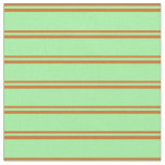 [ Thumbnail: Chocolate & Green Stripes/Lines Pattern Fabric ]