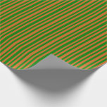 [ Thumbnail: Chocolate & Green Stripes Pattern Wrapping Paper ]
