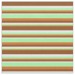 [ Thumbnail: Chocolate, Green, White, and Brown Pattern Fabric ]