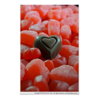 Chocolate, Gum Drop, and Gummy Candy Hearts Poster