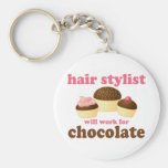 Chocolate Hair Stylist Occupation Gift Keychain