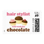 Chocolate Hair Stylist Occupation Gift Postage Stamps