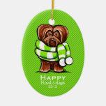 Chocolate Havanese Scarf Christmas Stripe Custom Ornaments