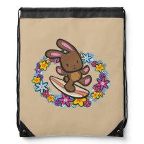 Chocolate Hawaiian Surfing Bunny Backpack
