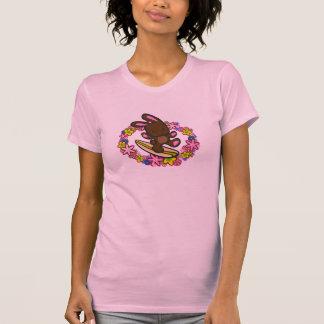 Chocolate Hawaiian Surfing Bunny Cartoon Pink T-Shirt