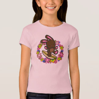 Chocolate Hawaiian Surfing Bunny Cartoon Pink T-Shirt