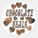 Chocolate Heals Round Sticker