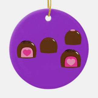 Chocolate Heart Bonbons Ceramic Ornament
