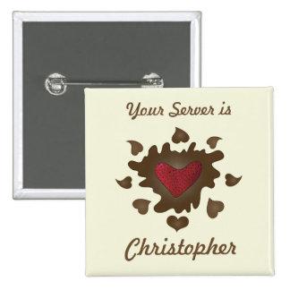 Chocolate Heart Employee Badge Pinback Buttons