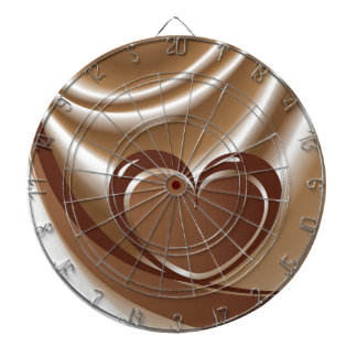 Chocolate heart from a tape in the background of m dart boards