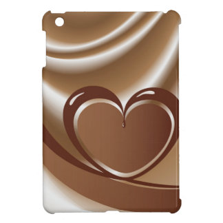 Chocolate heart from a tape in the background of m iPad mini cases
